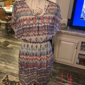 Lolita cream & blue patterned midi dress L